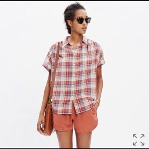 Madewell Central Drapey Plaid shirt XS